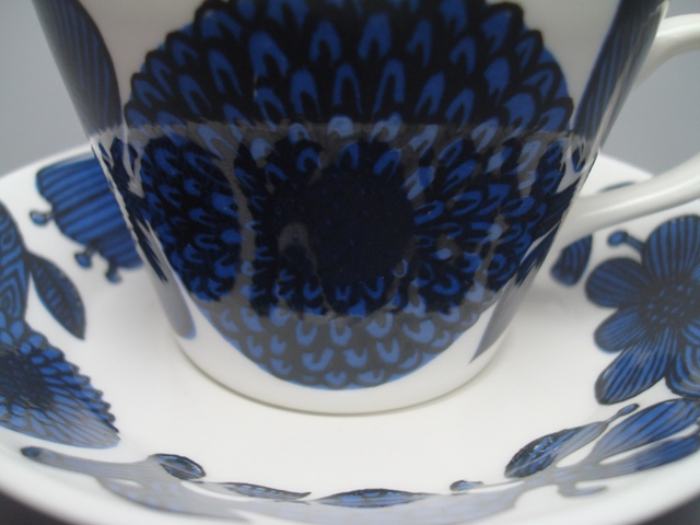 Gustavsberg Bla Aster Coffee Cup & Saucer