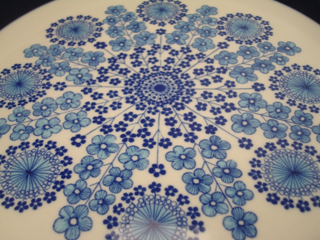 Arabia Flower Plate blue