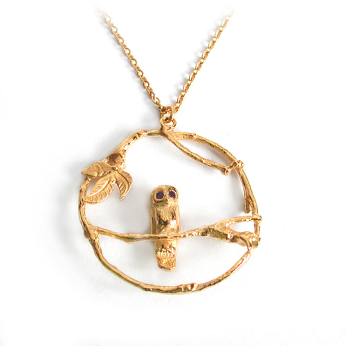 ALEX MONROE Owl Loop Necklace