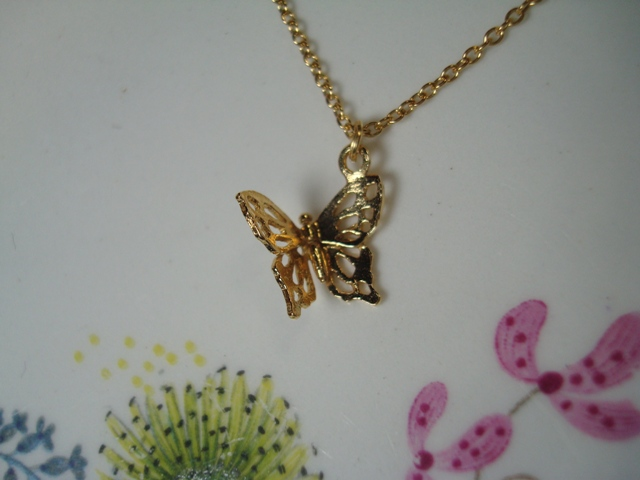 ALEX MONROE Little Filigree Butterfly Necklace