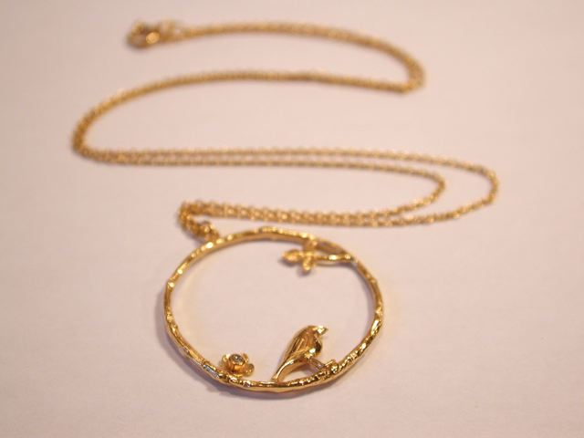 ALEX MONROE Bird & Flower Loop Necklace
