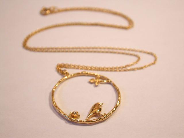 ALEX MONROE Bird & Flower Loop Necklace
