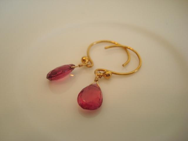 Flavie Furst Single Stone Earrings Pink Tourmaline