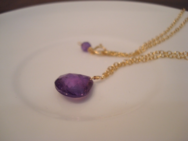 Flavie Furst Single Stone Necklace Amethyst