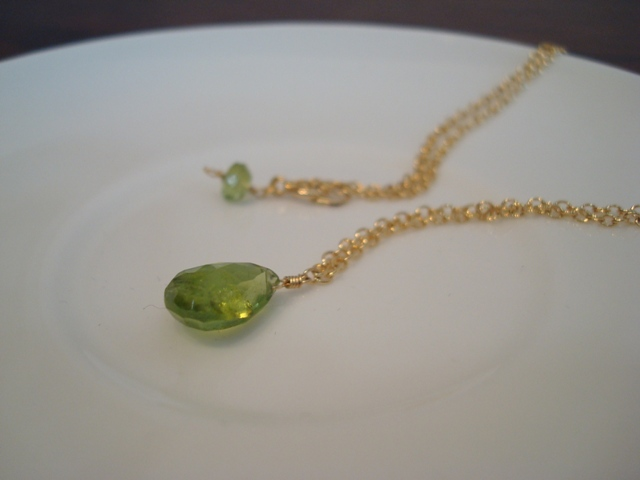 Flavie Furst Single Stone Necklace (Peridot)