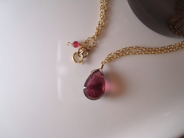 Flavie Furst Single Stone Necklace pink toumaline