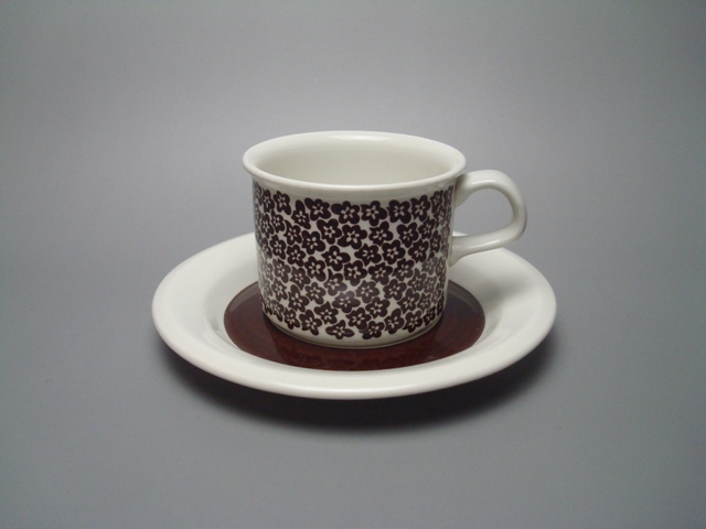 Arabia Faenza Coffee Cup & Saucer brown